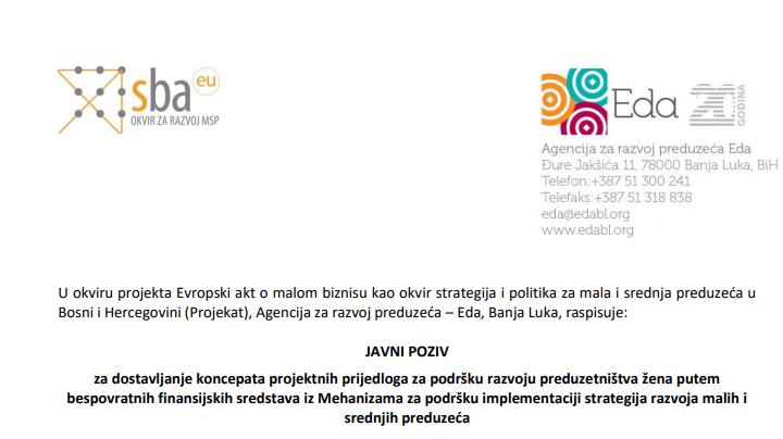 Objavljen Javni Poziv Za Dostavljanje Koncepata Projektnih Prijedloga Za Podršku Razvoju Preduzetništva žena