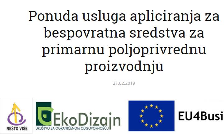 Ponuda Usluga Apliciranja Za Bespovratna Sredstva Za Primarnu Poljoprivrednu Proizvodnju