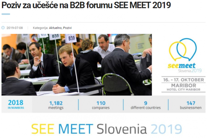 Poziv Za Učešće Na B2B Forumu SEE MEET 2019