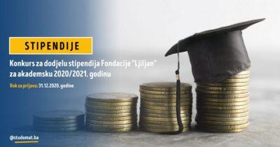 """Studentske Stipendije Fondacije """"Ljiljan"""" Za Akademsku 2020/2021. Godinu"""